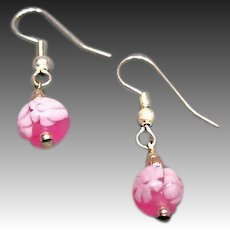STUNNING Venetian Millefiori Art Glass Earrings, Pink & White Murano Glass Beads