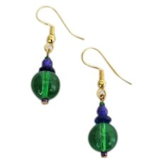 GORGEOUS Green Czech Art Glass Earrings, RARE 1960's Czech Glass Beads