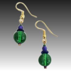 GORGEOUS Green Czech Art Glass Earrings, RARE 1960's Czech Glass Beads