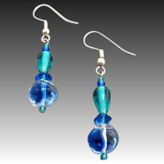 GORGEOUS Blue German Art Glass Earrings, RARE 1940's German Glass Beads
