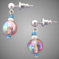 Gorgeous Pink Czech Art Glass Earrings, SCARCE 1950's AB Czech Beads