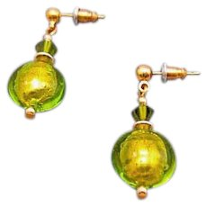 Dazzling Venetian Art Glass Earrings, 24K Gold Foil, Peridot Murano Glass Beads, Lime Green