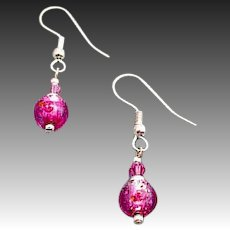 GORGEOUS Czech Art Glass Earrings, Magenta Pink Czech Silver Foil Beads, Roses