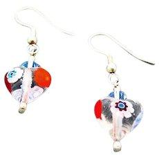 STUNNING Venetian Millefiori Art Glass Earrings, Hearts, Murano Glass Beads, Venetian Millefiori Beads