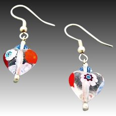 STUNNING Venetian Millefiori Art Glass Earrings, Hearts, Murano Glass Beads, Venetian Millefiori Beads