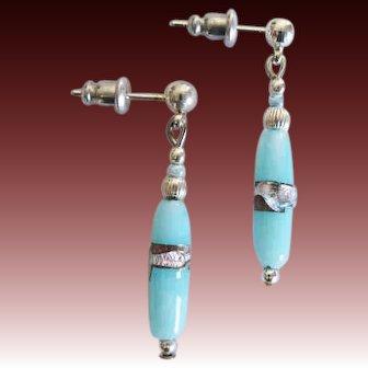 STUNNING Venetian Art Glass Earrings, RARE Antique Silver Foil Venetian Glass Beads
