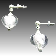 DAZZLING Venetian Art Glass Earrings, Silver Foil Murano Glass Heart Beads