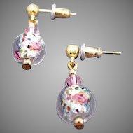 GORGEOUS Czech Art Glass Earrings, Crystal Czech Silver Foil Glass Beads, Roses