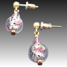 GORGEOUS Czech Art Glass Earrings, Crystal Czech Silver Foil Glass Beads, Roses