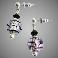 DAZZLING Venetian Art Glass Earrings, Purple and Silver Foil Murano Glass Beads