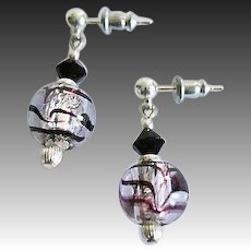 DAZZLING Venetian Art Glass Earrings, Purple and Silver Foil Murano Glass Beads