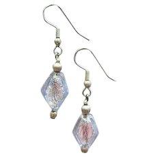 DAZZLING Alexandrite Venetian Art Glass Earrings, 24K White Gold Foil Murano Glass Beads