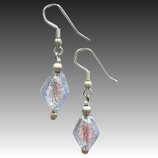 DAZZLING Alexandrite Venetian Art Glass Earrings, 24K White Gold Foil Murano Glass Beads