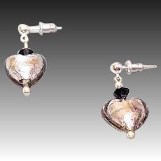 ELEGANT Venetian Art Glass Earrings, Silver Foil Hearts, Charcoal Gray Murano Glass Heart Beads