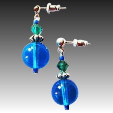 MOD Czech Art Glass Earrings, RARE 1960's Czech Glass Beads