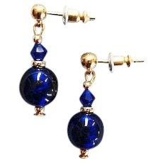STUNNING Venetian Art Glass Earrings, RARE 1940's Cobalt Blue Venetian Glass Beads