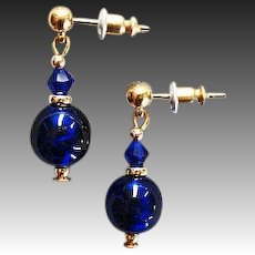 STUNNING Venetian Art Glass Earrings, RARE 1940's Cobalt Blue Venetian Glass Beads
