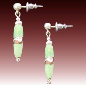 STUNNING Green Venetian Art Glass Earrings, RARE Antique Silver Foil Venetian Glass Beads
