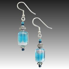 GORGEOUS Czech Art Glass Earrings, RARE 1940's Aquamarine Czech Glass Beads