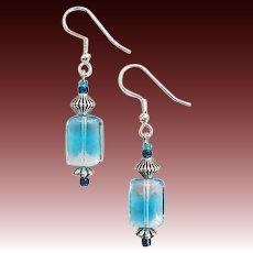 GORGEOUS Czech Art Glass Earrings, RARE 1940's Aquamarine Czech Glass Beads
