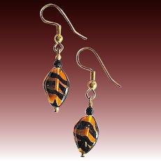 MOD Czech Art Glass Earrings, SCARCE 1960's Czech Tiger Stripe Glass Beads
