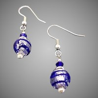 DAZZLING Venetian Art Glass Earrings, Blue and Silver Foil Murano Glass Beads