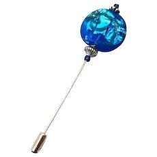 DAZZLING Venetian Art Glass Stick Pin, Aegean Blue Silver Foil Murano Glass Bead, Aventurina, Hat Pin