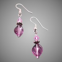 GORGEOUS Czech Art Glass Earrings, RARE 1960's Amethyst Czech Glass Beads