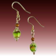 MOD Green Czech Art Glass Earrings, RARE 1960's Czech Glass Beads