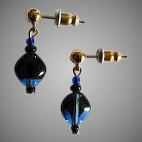 STRIKING Czech Art Glass Earrings, RARE 1960's Czech Glass Beads, Cobalt Blue and Black