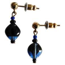 STRIKING Czech Art Glass Earrings, RARE 1960's Czech Glass Beads, Cobalt Blue and Black