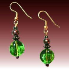 MOD Czech Art Glass Earrings, RARE 1960's Peridot Czech Glass Beads