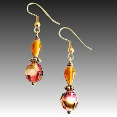 STRIKING German Art Glass Earrings, RARE 1940's Faceted German Glass Beads