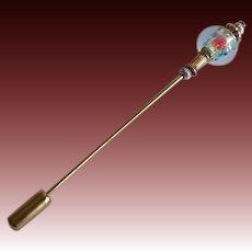 STUNNING Czech Art Glass Stick Pin, Czech Silver Foil Bead, Roses, Hat Pin