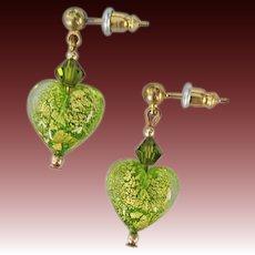 GORGEOUS Venetian Art Glass Earrings,  24K Gold Foil Murano Glass Heart Beads