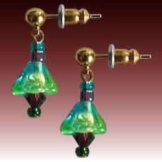 STUNNING German Art Glass Earrings, RARE 1940's German Glass Beads