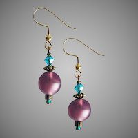 FABULOUS Purple German Art Glass Earrings, RARE 1960's German Frosted Glass Beads