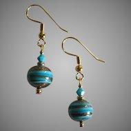 STUNNING Aventurina Venetian Art Glass Earrings, Turquoise & Black Murano Glass Beads