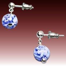 STUNNING Millefiori Venetian Art Glass Earrings, Blue & White Murano Glass Beads