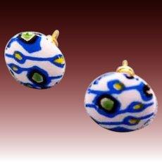 MOD Czech Art Glass Pierced Earrings, Rare 1960's Czech Glass Beads, Retro, Pierced Earrings