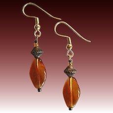 GORGEOUS Czech Art Glass Earrings, RARE 1940's Amber Czech Beads