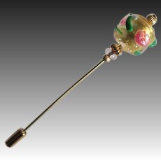 EXQUISITE Fiorato Venetian Art Glass Stick Pin, 24K Gold Foil Murano Glass Bead, Pink Rose Fiorato Bead, Hat Pin