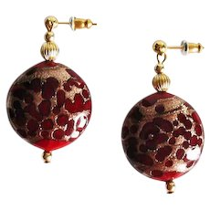 STUNNING Red Venetian Art Glass Earrings, Rare 1930's Aventurine Murano Glass Beads
