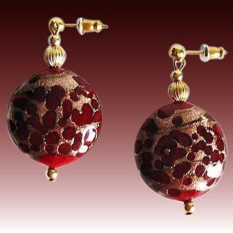 STUNNING Red Venetian Art Glass Earrings, Rare 1940's Aventurine Murano Glass Beads