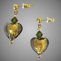 STUNNING Venetian Art Glass Earrings, 24K Gold Foil Murano Glass Hearts