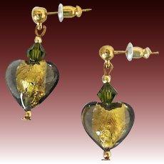 STUNNING Venetian Art Glass Earrings, 24K Gold Foil Murano Glass Hearts