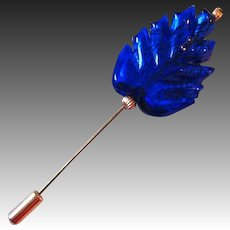 ELEGANT Venetian Art Glass Stick Pin, Cobalt Blue Leaf 24K Gold Foil Murano Glass Bead, Hat Pin