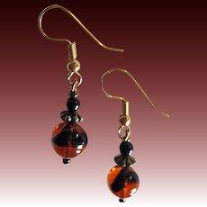 MOD Czech Art Glass Earrings, RARE 1960's Czech Tiger Stripe Glass Beads