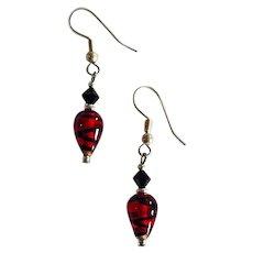 STRIKING German Art Glass Earrings, SCARCE Red & Black German Glass Beads