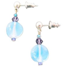 STUNNING German Art Glass Earrings, RARE 1950's West Germany Opalescent Beads